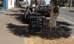 The Baker's Larder signage on St Kilda Road