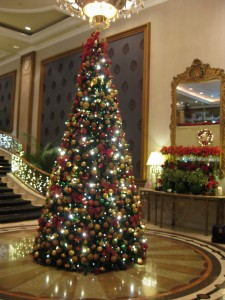 The Langham's huge and striking Christmas tree