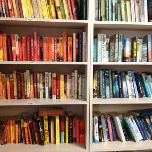 Books shelved by colour