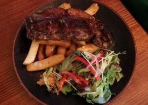 Porterhouse steak with chips