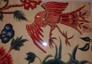 Jacobean embroidered bird - this work was first done in the early 1600s