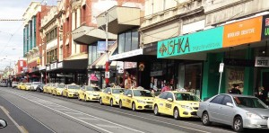 Taxis as far as the eye can see outside Revolver Night Club