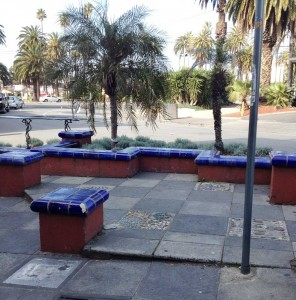 Ceramic seating near The Dogs Bar on Acland Street.