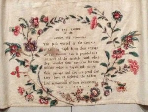 This quilt was made by convict women who were being transported on the Rajah in 1841