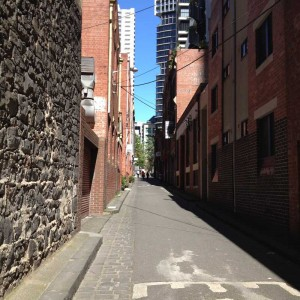 Looking west along the laneway