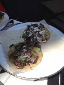Char-grilled steak with caramelized onion & Hongos (mushroom) Tacos