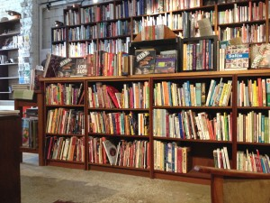 Books everywhere for hours of browsing at Books for Cooks new location