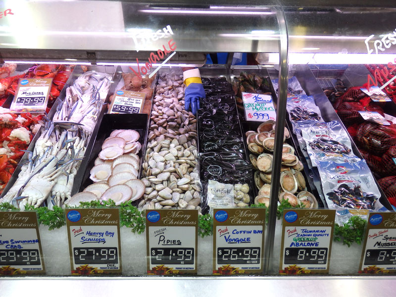 Some of the sea food on sale