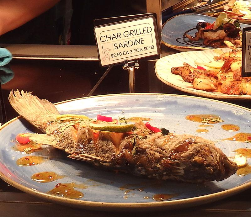 Char-grilled sardine